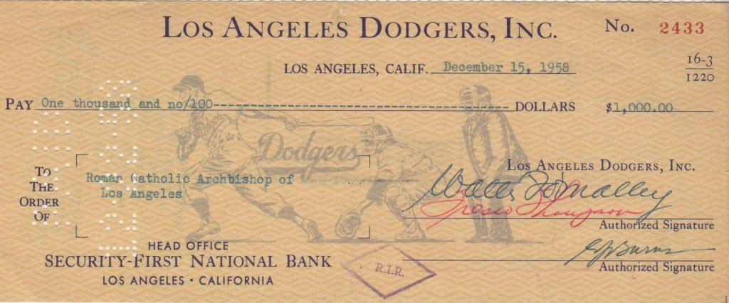 Los Angeles Dodgers check signed by Walter O'Malley