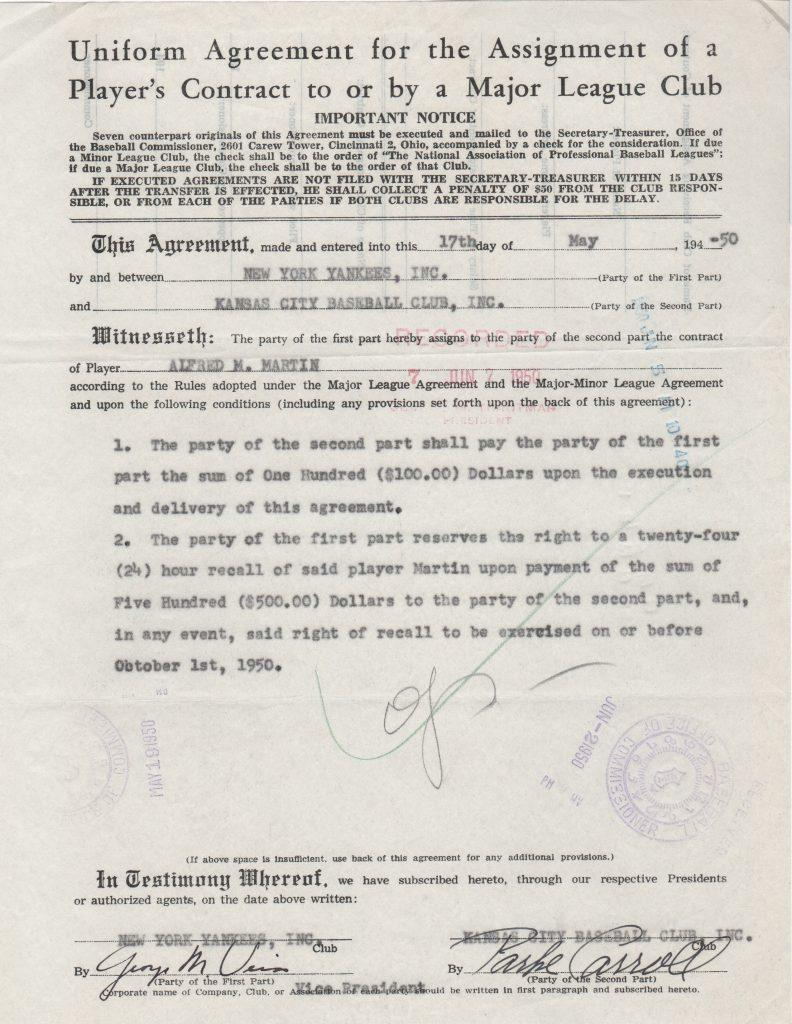 Document from Commissioner's Office that sent Billy Martin to the minors in 1950