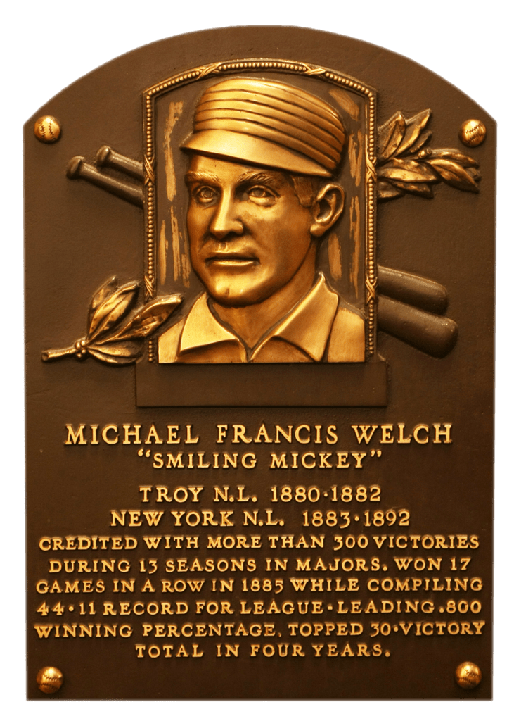 Hall of Fame plaque for Smiling Mickey Welch