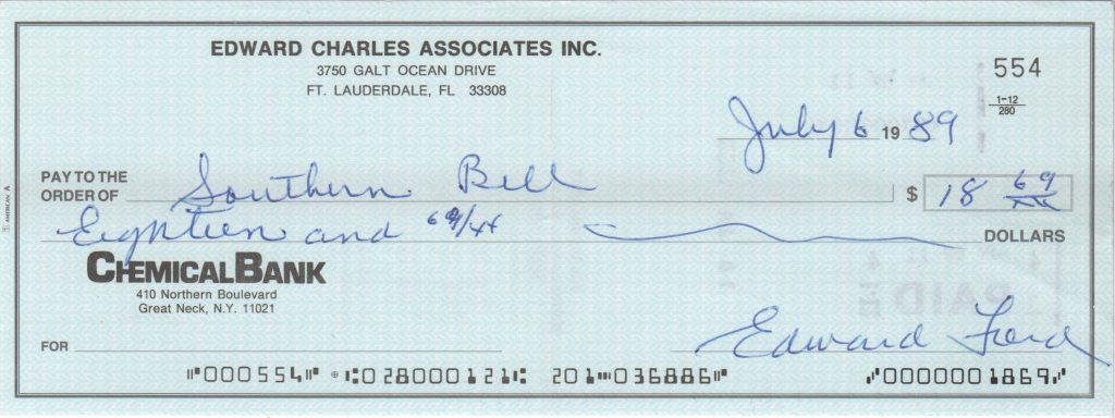 Whitey Ford check from 1989 signed