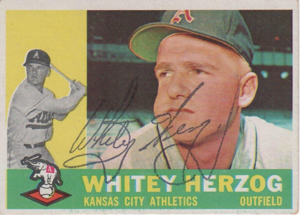 1960 Topps card autographed by Whitey Herzog
