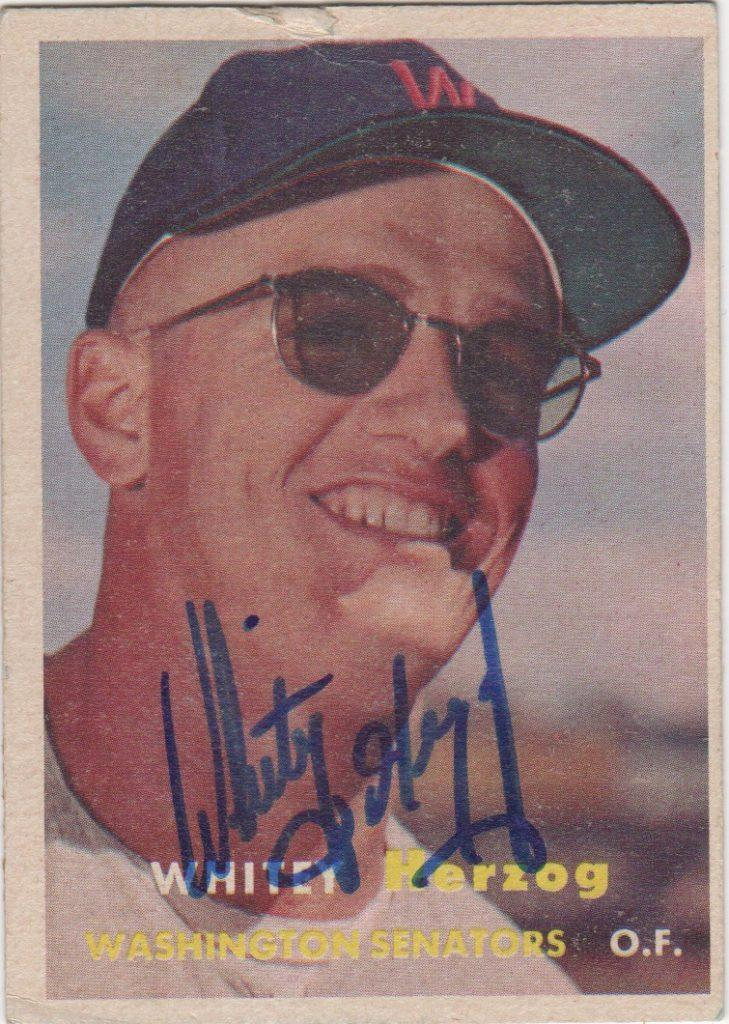 Whitey Herzog rookie card as a player