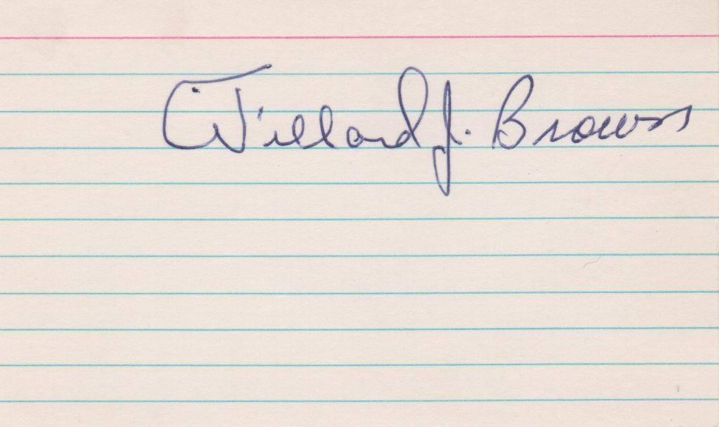 Willard Brown autographed index card