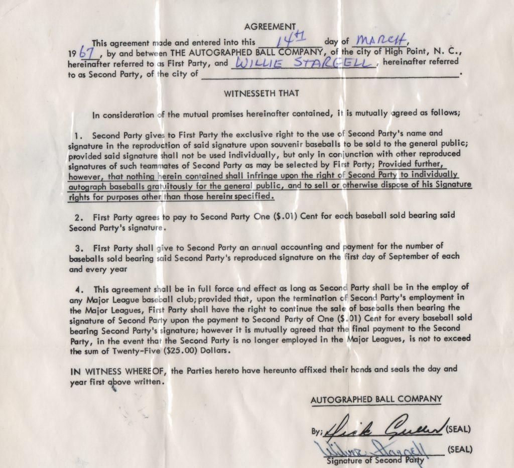 Willie Stargell signed contract with the Autographed Ball Company