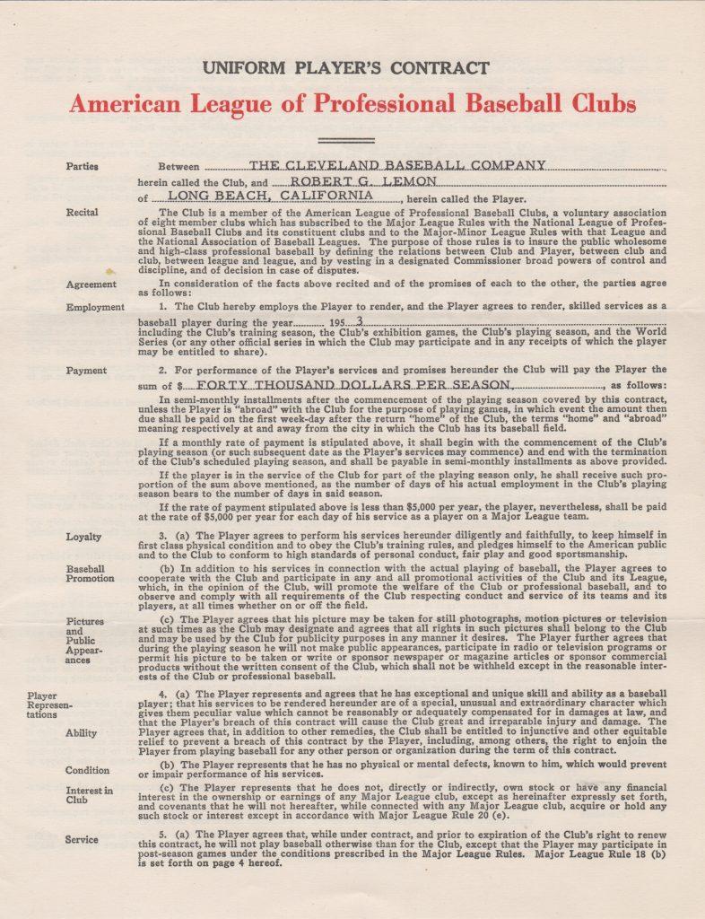 Bob Lemon's 1953 Indians contract