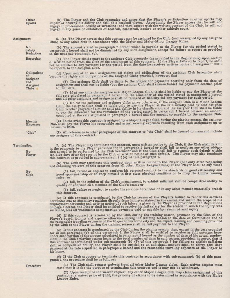 2nd page of Bob Lemon 1953 contract