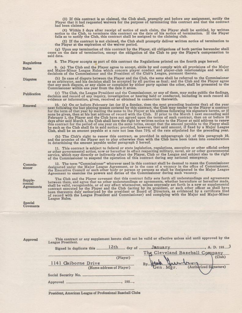 Signature page of Bob Lemon's 1953 contract featuring HoFer Hank Greenberg