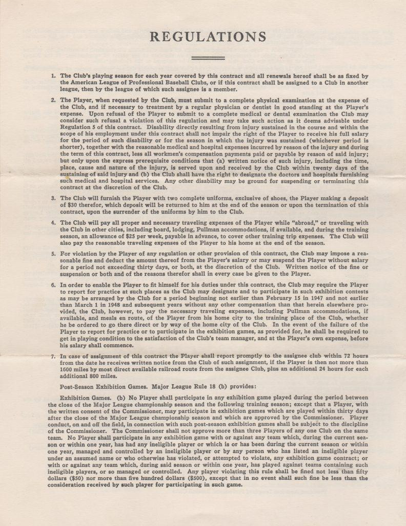 Page 4 of Bob Lemon's 1953 player's contract