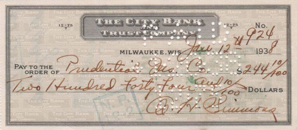 Al Simmons personal check from 1938