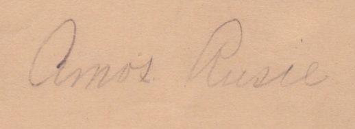Closeup of the Amos Rusie signature