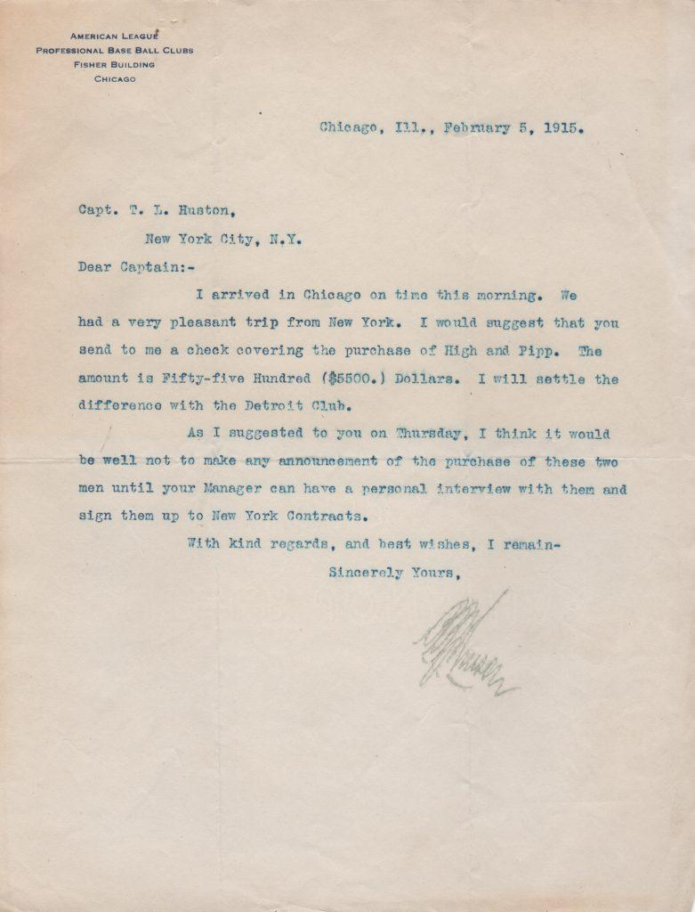 Ban Johnson writes to Yankee owner T.L. Huston in 1915 re: Wally Pipp