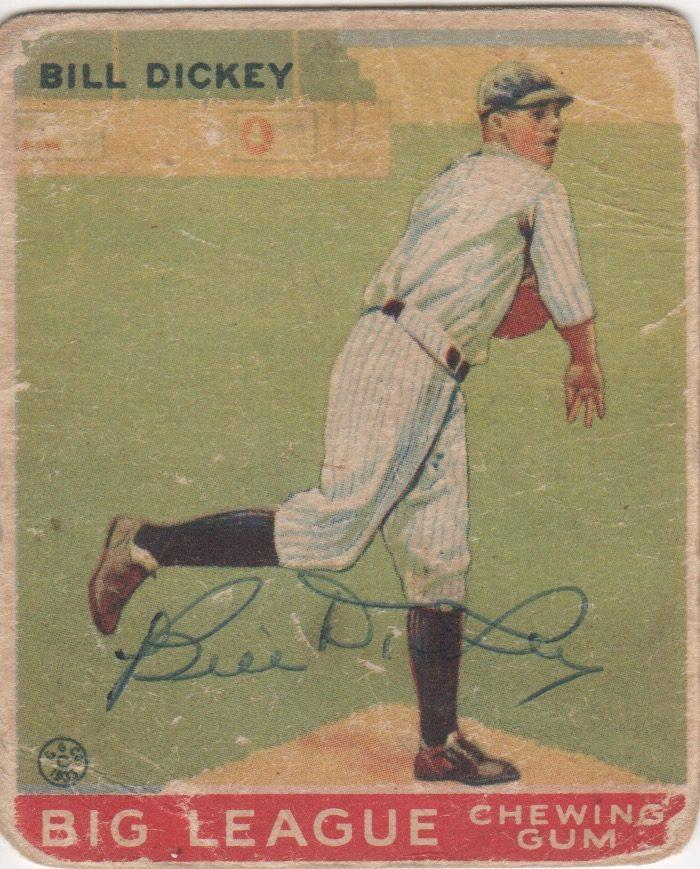 Original 1933 Goudey adorned with a vintage Bill Dickey autograph
