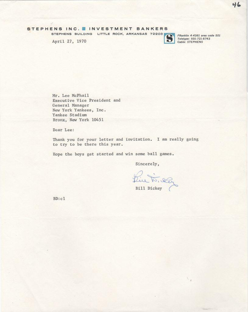 Bill Dickey responds to 1970 Old Timer's Day invite