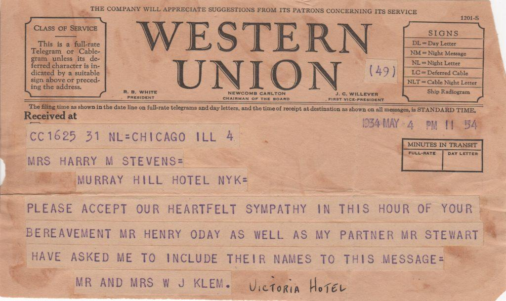 Telegram sent by Hall of Fame umpire Bill Klem