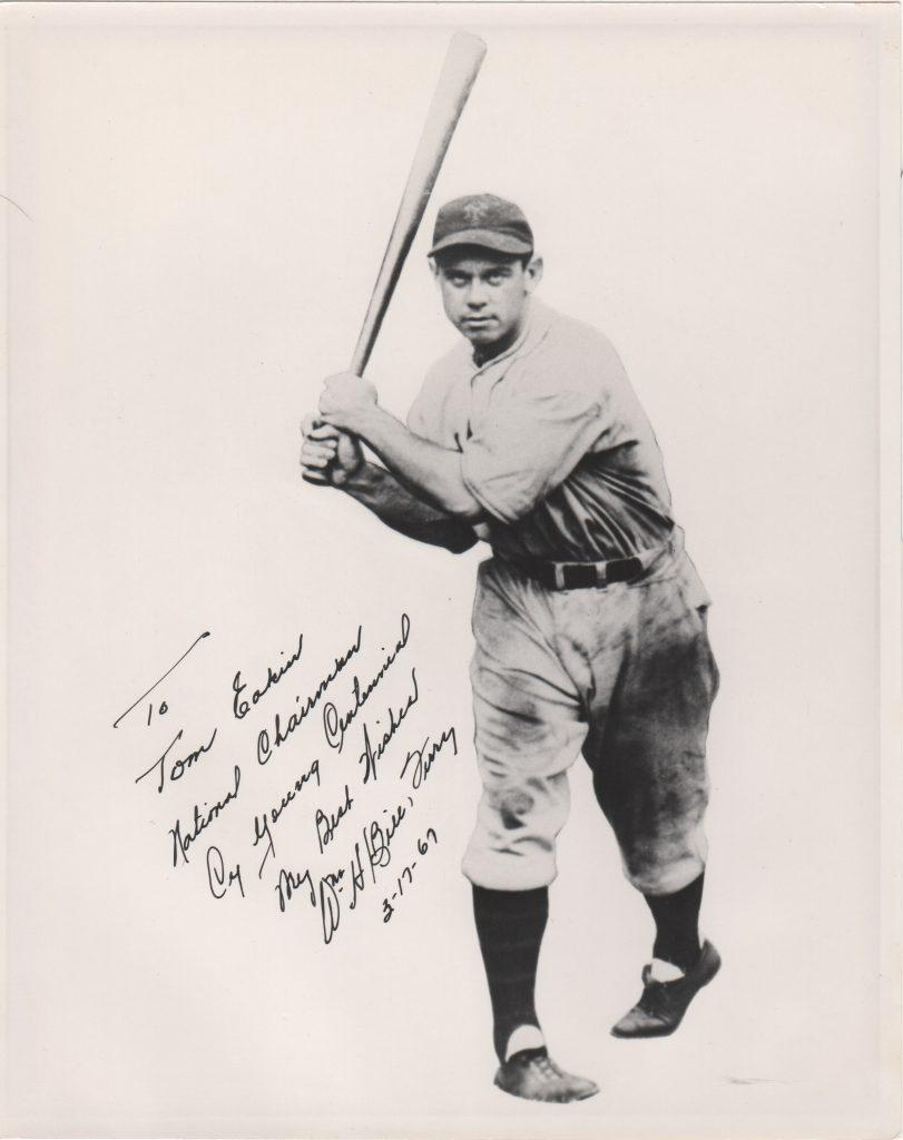 Bill Terry signed photo to Cy Young Centennial chairman Tom Eakin