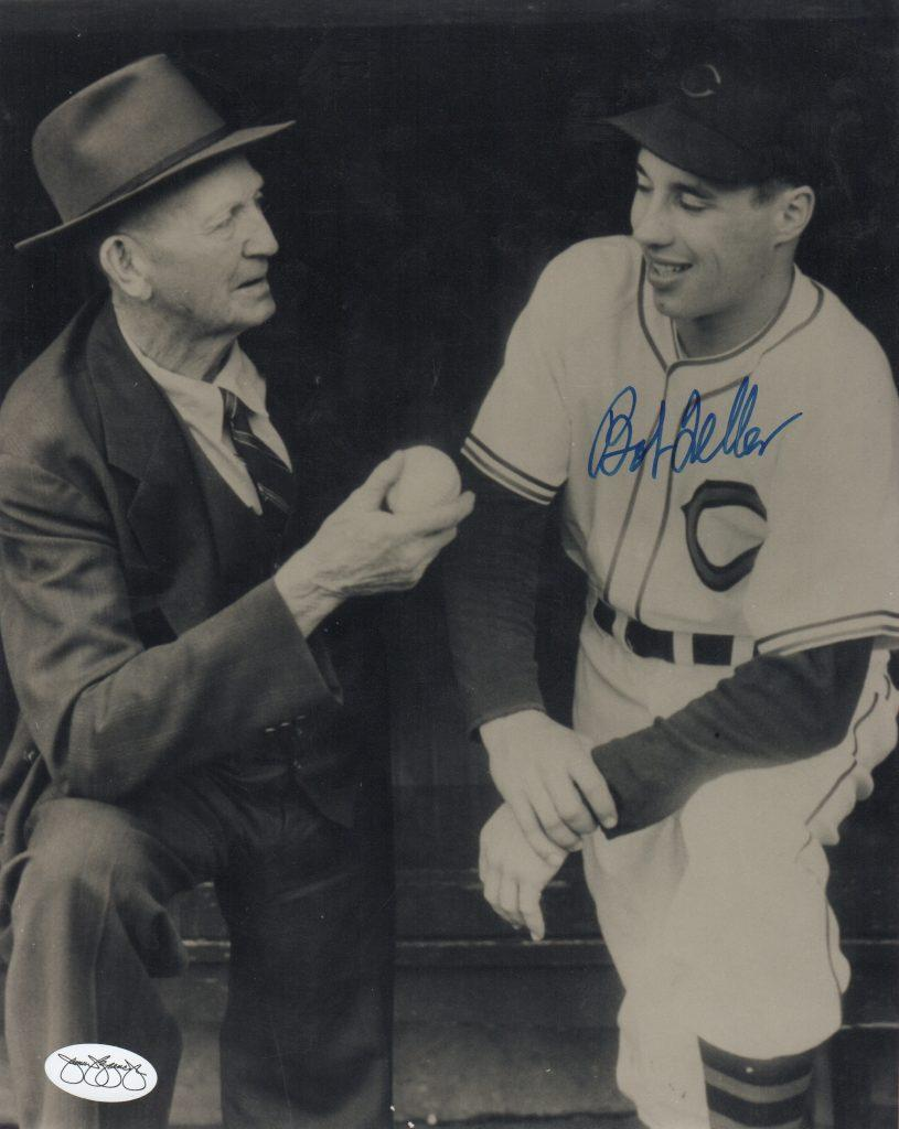 Bob Feller signed photo pictured with Cy Young