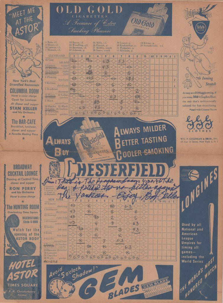 Scorecard and program from Bob Feller's 1946 no-hitter at Yankee Stadium