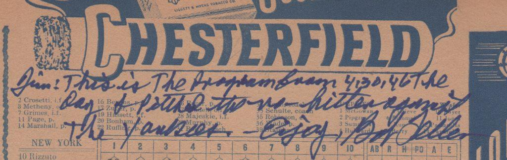Closeup of Feller's inscription on the 1946 program