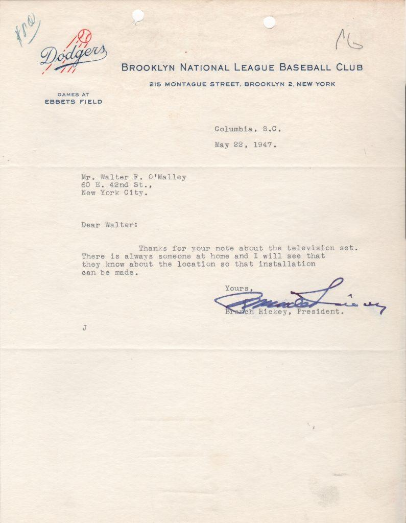 Branch Rickey letter signed one month after Jackie's debut