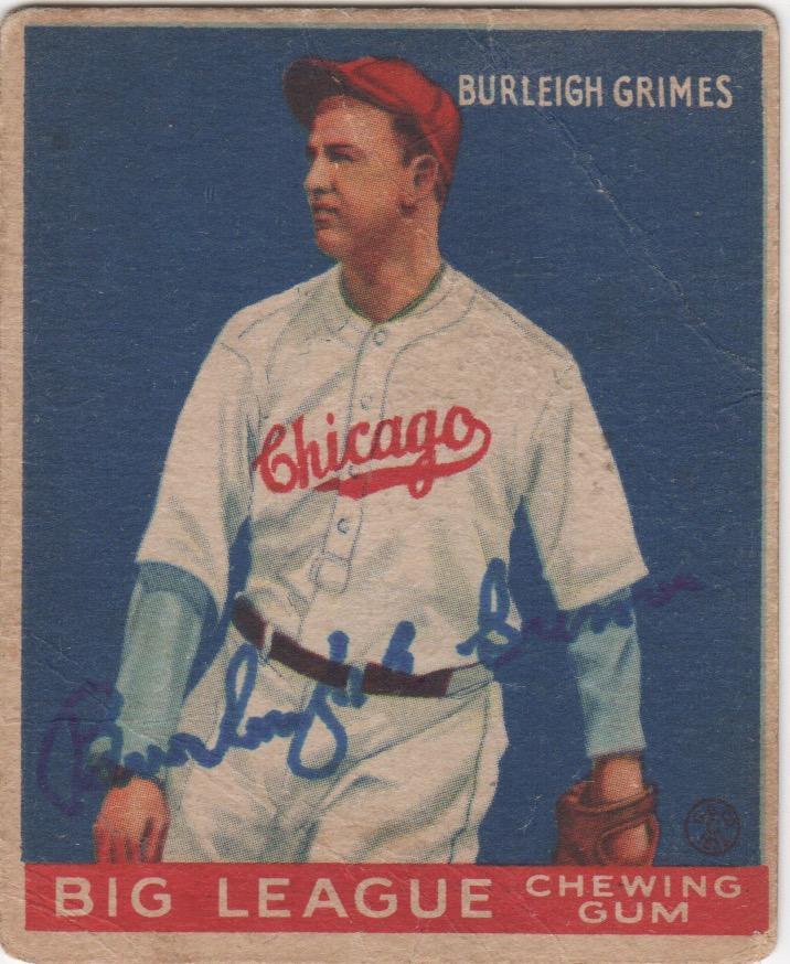Burleigh Grimes autographed 1933 Goudey