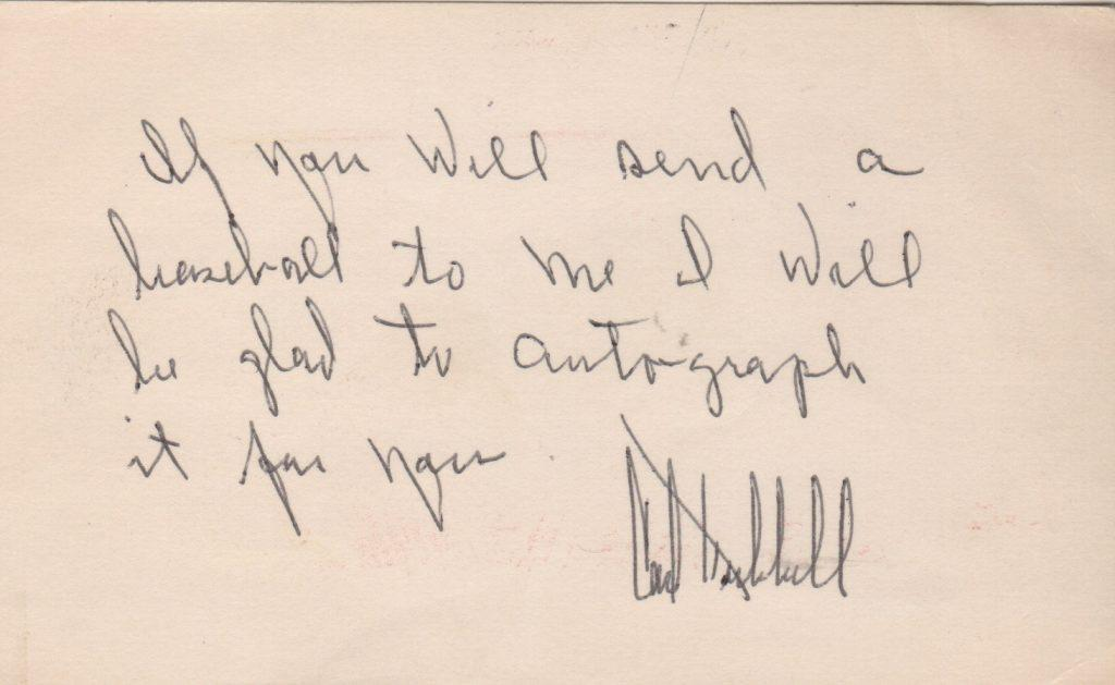 3x5 index card note signed by Carl Hubbell