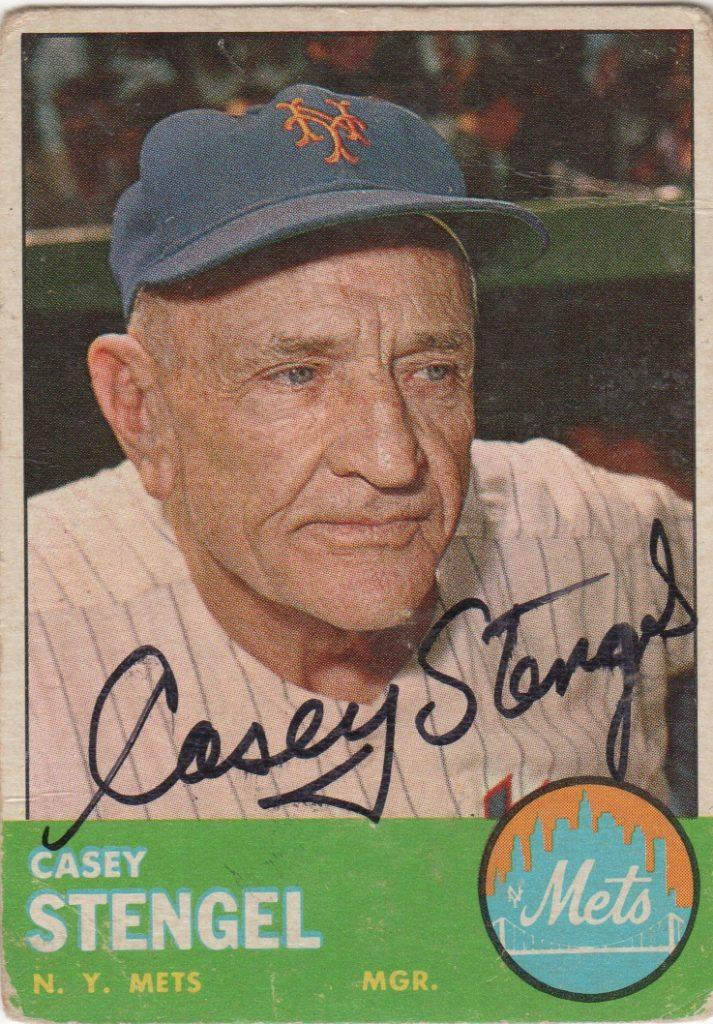 Casey Stengel autographed 1964 Topps card