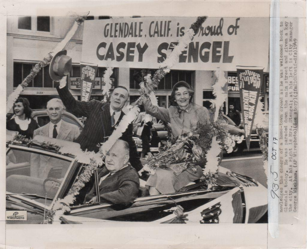 Glendale, California throws Casey Stengel a parade in 1949