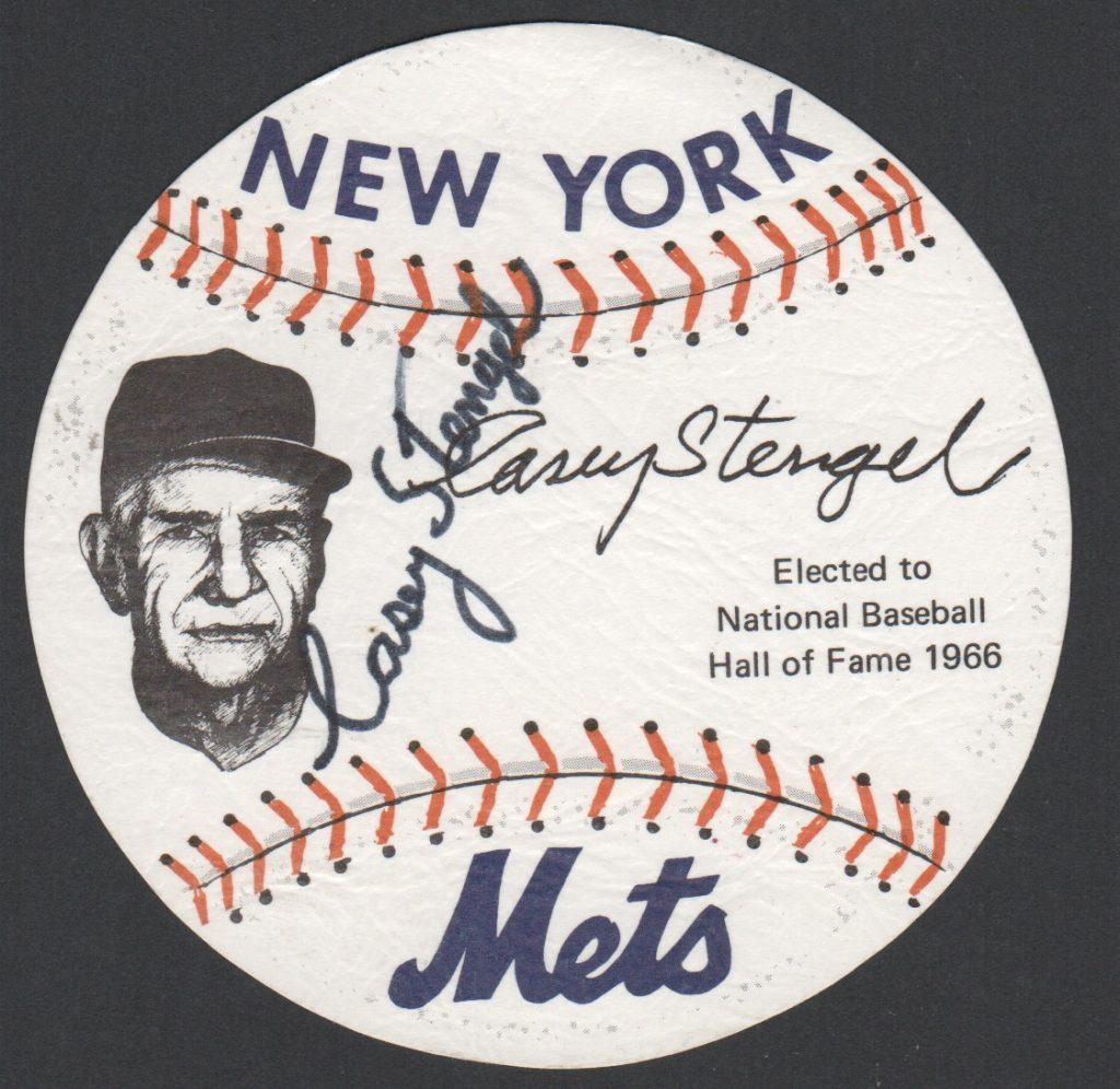 Paper baseball autographed by Casey Stengel