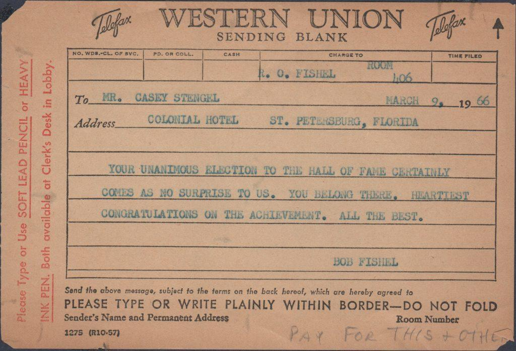 Bob Fishel telegram congratulating Casey Stengel on his election to the Hall