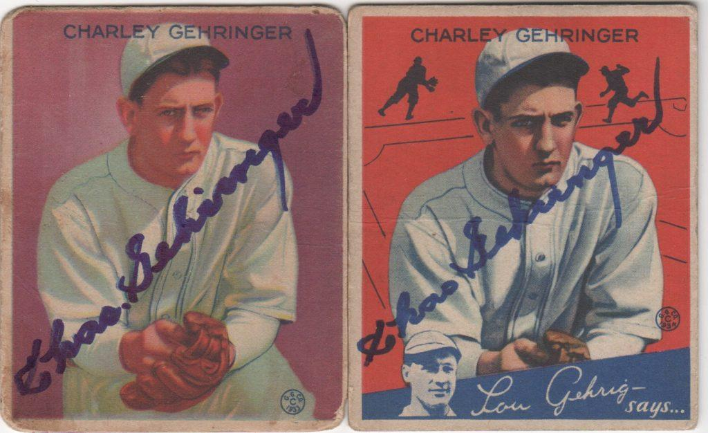 Autographed 1933 and 1934 Goudey baseball cards