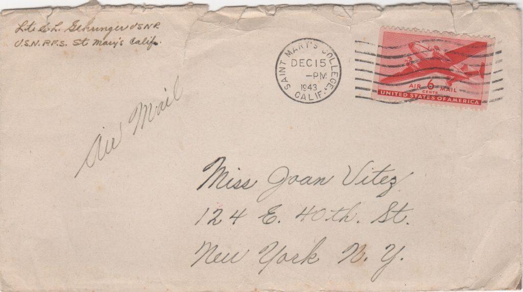 Envelope with Gehringer autograph in return address