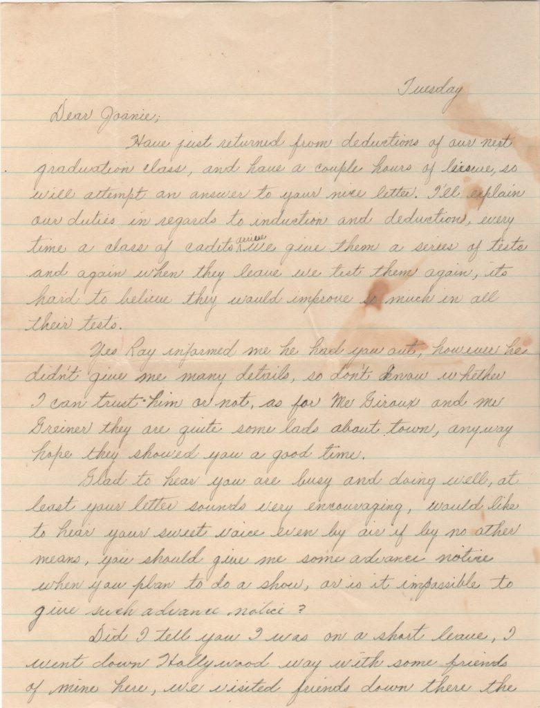 First page of three-page handwritten letter