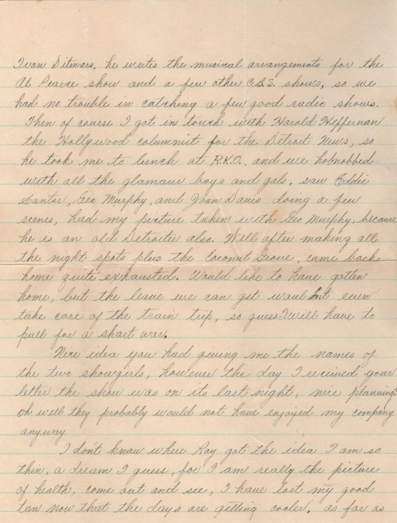 Second page of three-page handwritten letter