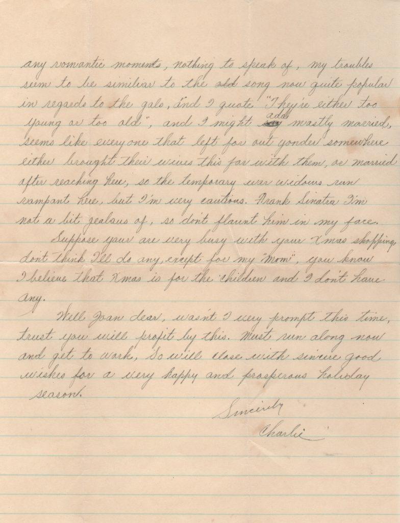 Final page of Charlie Gehringer handwritten letter