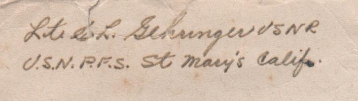 Closeup of return address autograph