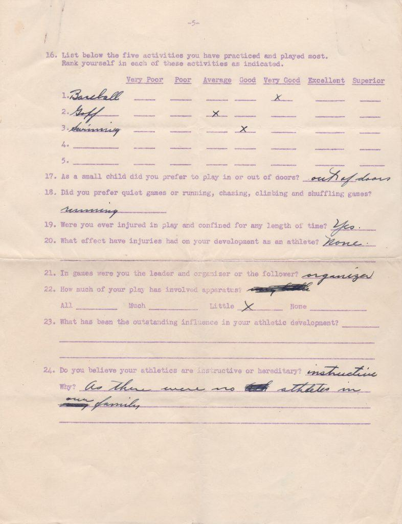 Final page of Charlie Root signed 1938 questionnaire