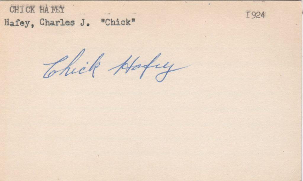 Chick Hafey autographed 3x5 index card
