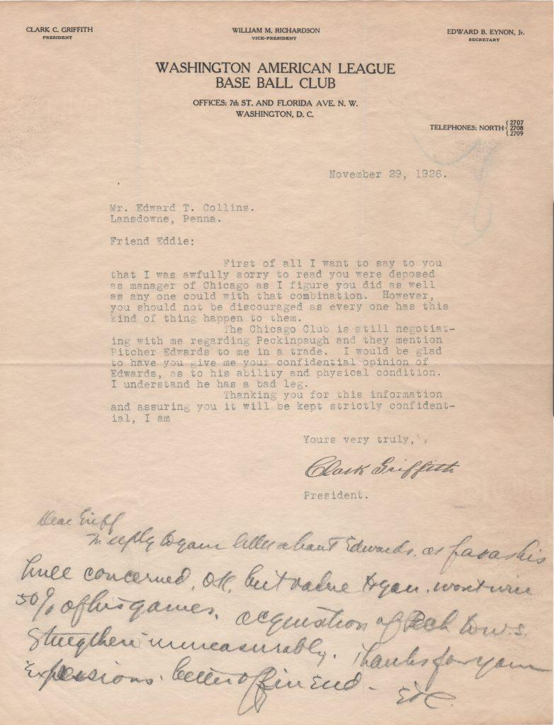 Clark Griffith writes to Eddie Collins in 1926; Collins replies