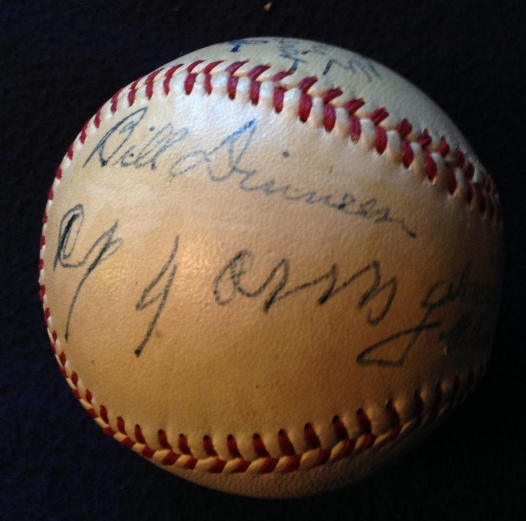 Ball signed by Red Sox pitchers Bill Dinneen and Cy Young -- but were caught by Bill Carrigan