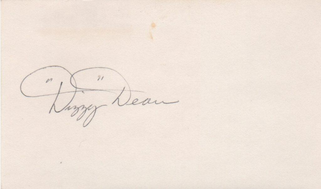 Dizzy Dean signed index card