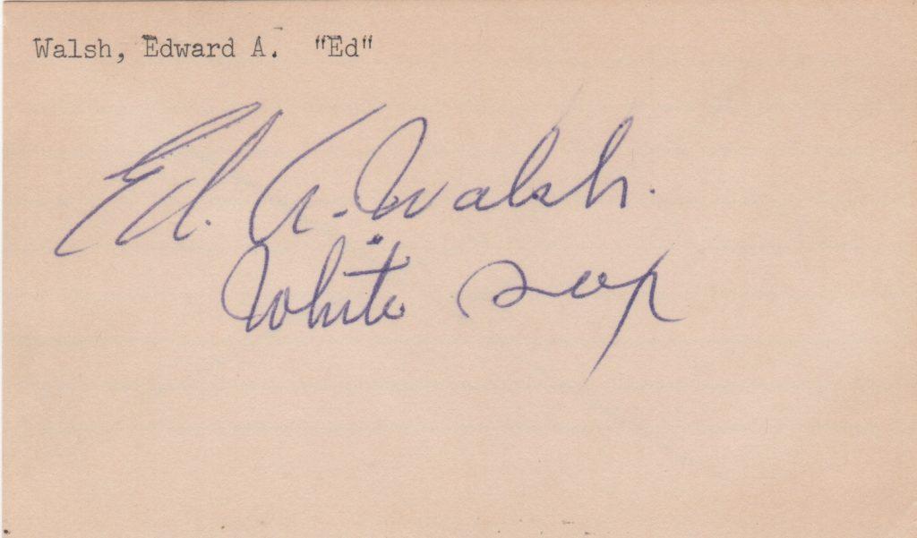 Ed Walsh signed index card