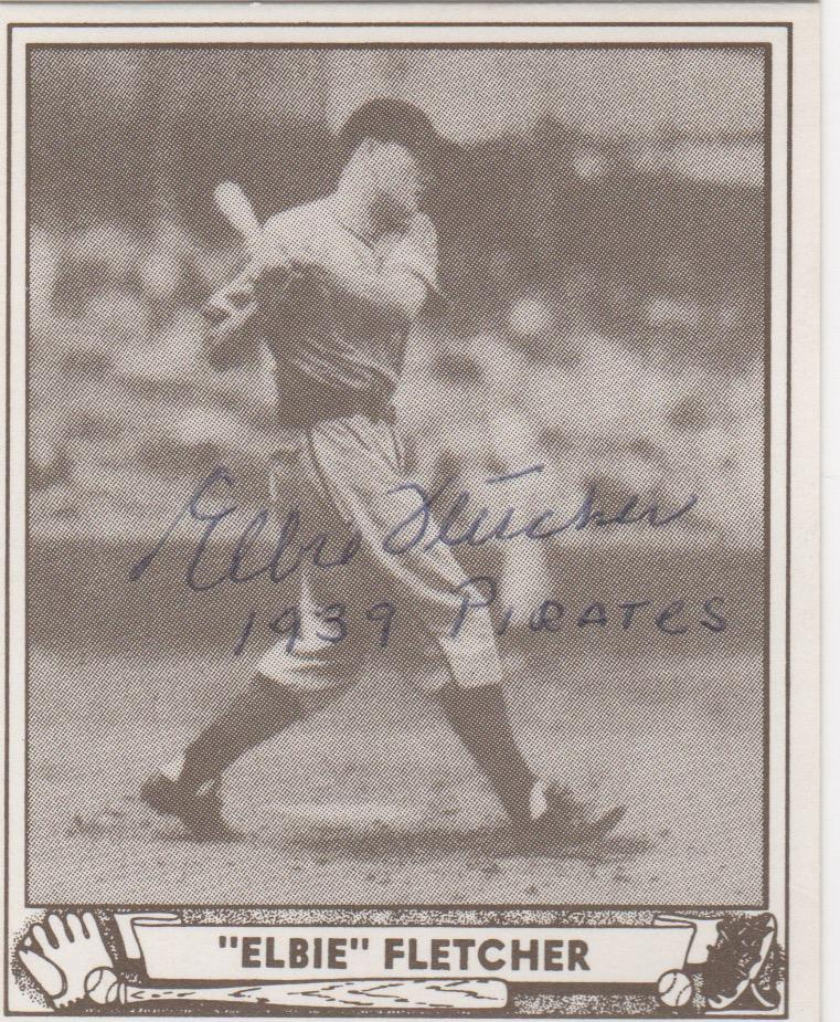 Autographed 1940 Play Ball reprint of Elbie Fletcher