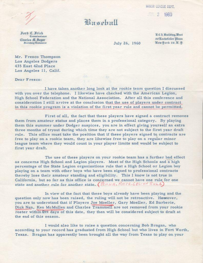 Ford Frick letter regarding 17-year old Joe Moeller and others