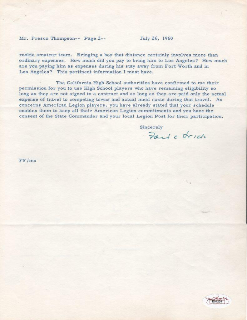 Second page of Ford Frick letter to Dodgers