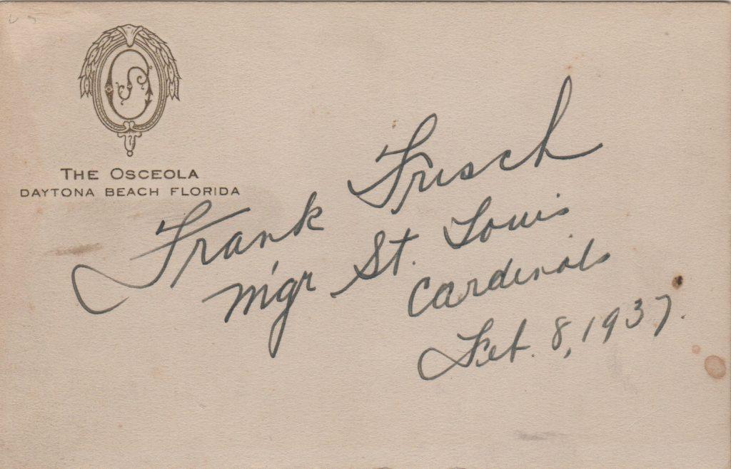 Frank Frisch autograph from 1937