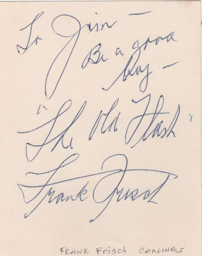 Frank Frisch signed note with notation