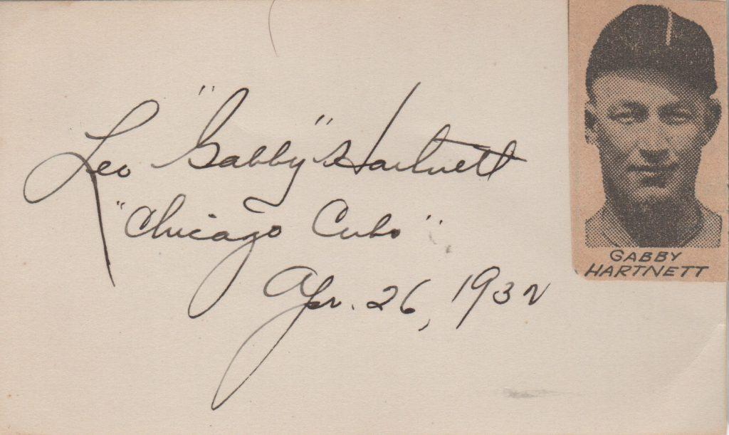 Gabby Hartnett 3x5 signed in 1932