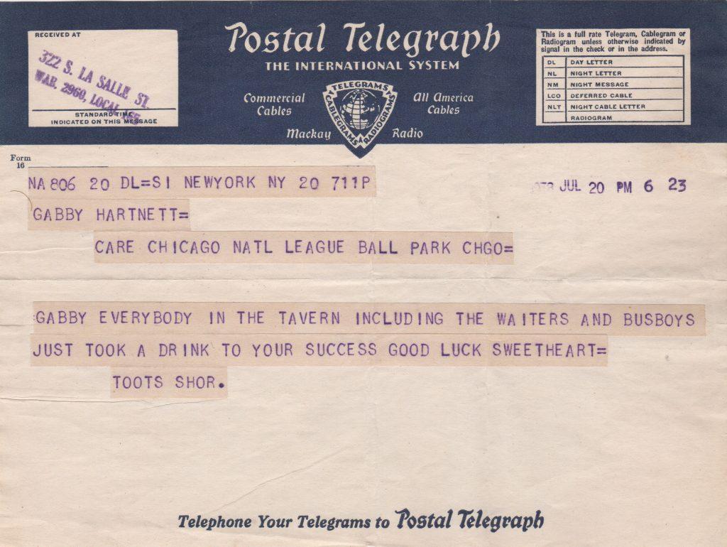 Telegram to Gabby Hartnett from restauranteur Toots Shor