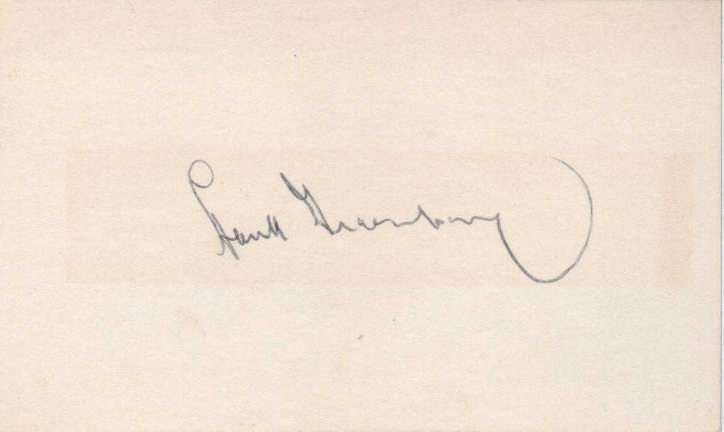 Hank Greenberg signed 3x5 index card