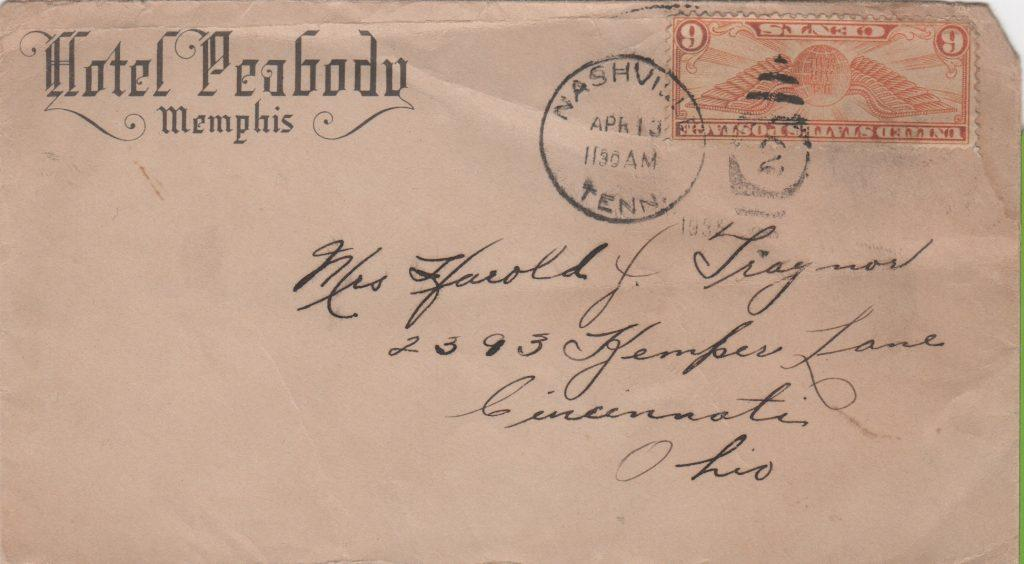 Envelope addressed to Mrs. Harold Traynor